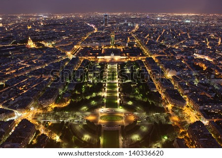 Night view of Paris from the Eiffel Tower - stock photo