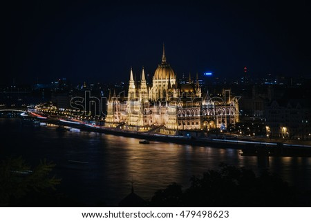 Night view of parliament building, symbol of Budapest