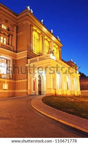 Night view of part of opera house in Odessa, Ukraine