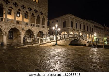 night view of Ponte della Paglia. Venice. Italy. - stock photo
