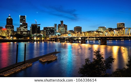 Night view of portland - stock photo