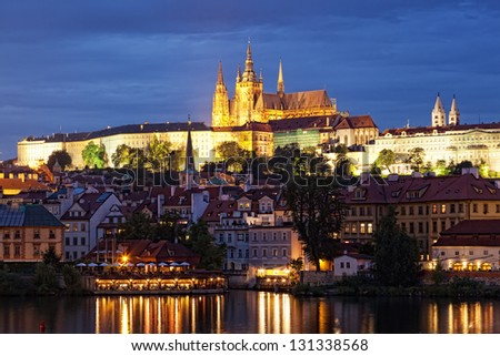 Night view of Prague - river Vltava, Gradchany, St. Vitus's cathedral - stock photo
