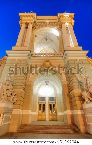 Night view of public opera and ballet theater in Odessa, Ukraine - stock photo