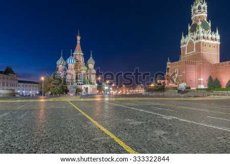Night view of Red Square and Saint Basil s Cathedral in Moscow - stock photo