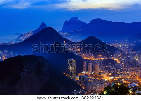 Night view of  Rio de Janeiro Brazil - stock photo