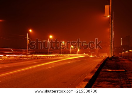Night view of road in city