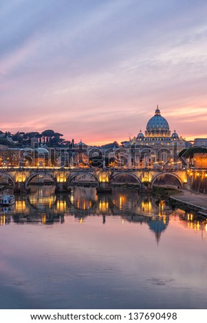 Night view of Rome and St. Peter's Basilica, Italy. - stock photo