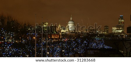 Night view of Saint Paul's Cathedral in the City of London, UK - stock photo