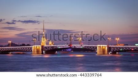night view of Saint-Petersburg, Palace bridge - stock photo