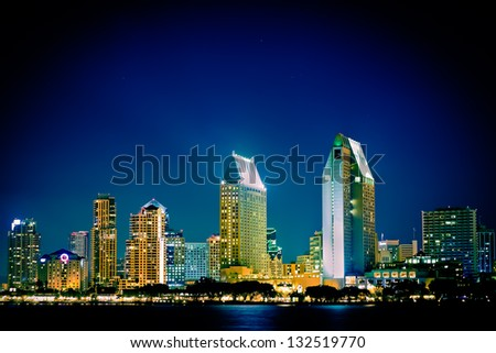 Night view of  San Diego skyline - stock photo