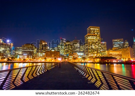 Night view of San Francisco.  Cityscape from Pier 14 - stock photo