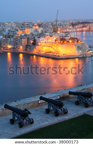 Night view of Senglea from Upper Barracca Garden (Valletta, Malta, Maltese islands)