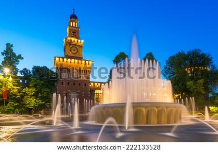 Night view of Sforza Castle (Castello Sforzesco) in Milan, Italy - stock photo
