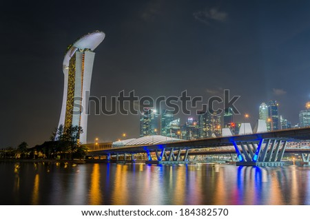night view of Singapore skyline