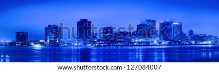 Night view of Skyline of New Orleans as seen from the MIssissippi river