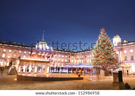 Night View of Somerset House in Strand, London.    - stock photo