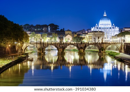 Night view of St. Angelo Bridge and Vatican, Rome - stock photo
