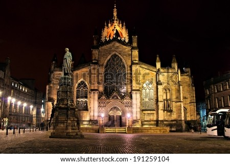 Night view of St Giles Cathedral, Edinburgh, Scotland - stock photo