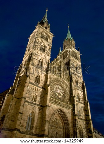 Night view of St Lawrence Church(Lorenzkirche) in Nuremburg, Germany