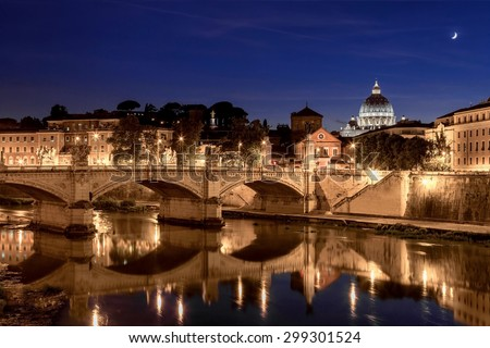 Night view of St. Peter's cathedral in Rome, Italy - stock photo