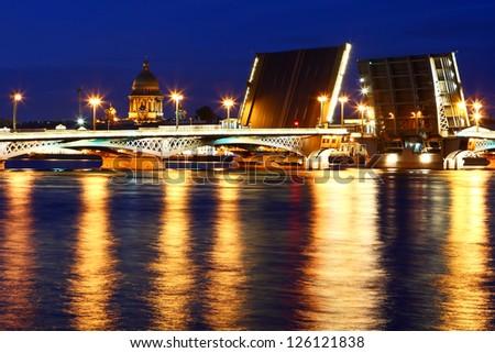 Night view of St  Petersburg - stock photo