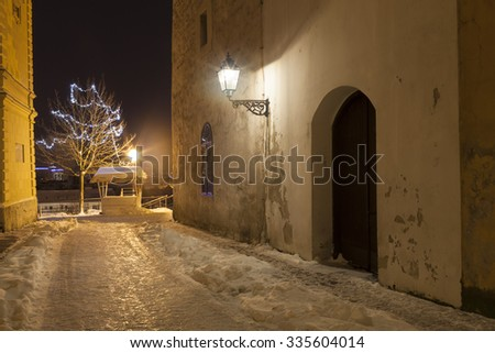 night view of street  decorated with christmas lights. Zagreb. Croatia. - stock photo
