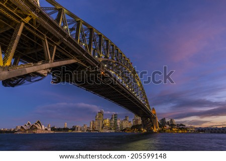 Night view of Sydney Harbour Bridge in Sydney - stock photo