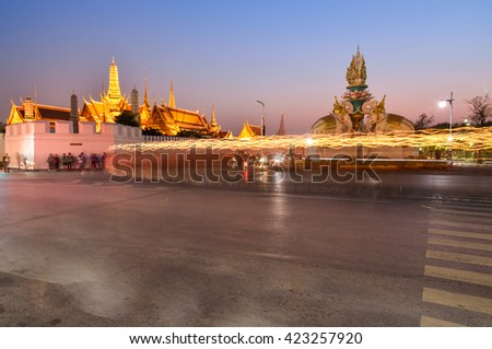 Night View of Temple of the Emerald Buddha in Bangkok, Thailand. Wat Phra Kaew is one of the most popular tourists destination in Thailand. - stock photo