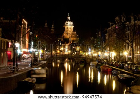 Night view of the Amsterdam, Holland, The Netherlands
