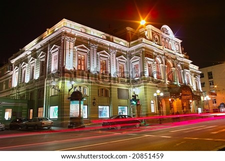 Night view of the Big Dramatic Theater in Saint Petersburg