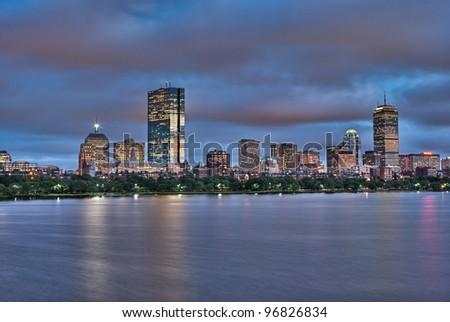 Night view of the Boston Skyline reflected in the Charles River