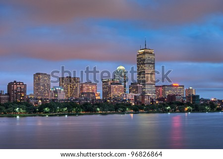 Night view of the Boston Skyline with brightly illuminated buildings