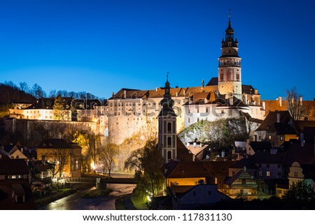 night view of the castle of Cesky Krumlov, Czech Republic - stock photo