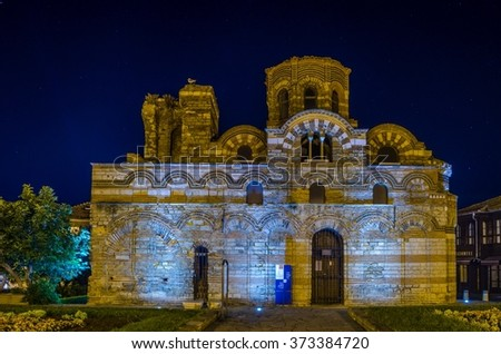 Night view of the church of christ pantocrator in bulgarian city nessebar - stock photo