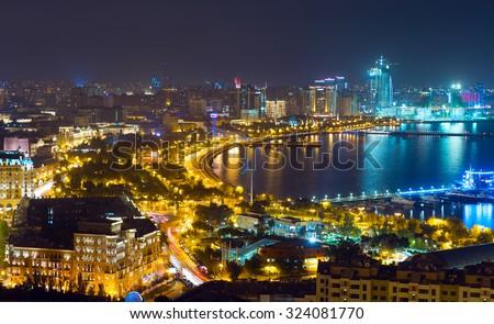 Night view of the city of Baku - the capital of the Republic of Azerbaijan - stock photo