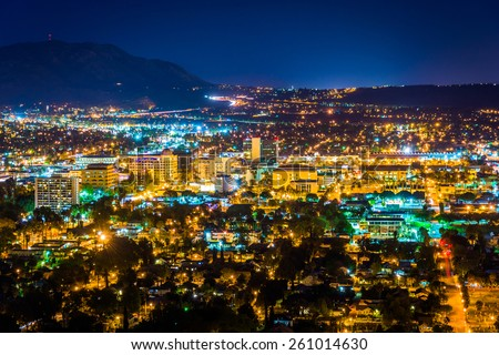 Night view of the city of Riverside, from Mount Rubidoux Park, in Riverside, California. - stock photo