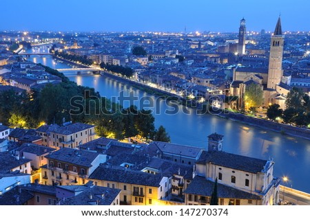 Night view of the city of Verona Italy  - stock photo