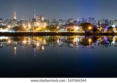 Night view of the city Sao Paulo, Ibirapuera Park - stock photo