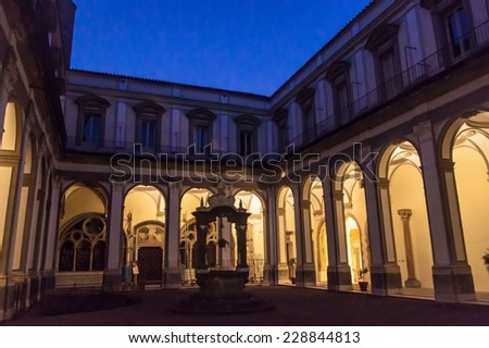 Night view of the courtyard of Convento S. Lorenzo Maggiore in Naples, Italy