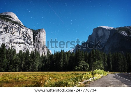 Night view of the Half Dome at Yosemite National Park - stock photo
