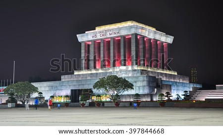 Night view of the Ho Chi Minh Mausoleum.
