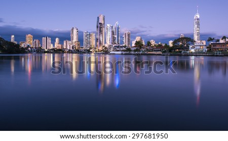 Night View of the Iconic Surfers Paradise Accommodation Reflecting in the Water, Gold Coast, Queensland, Australia  - stock photo