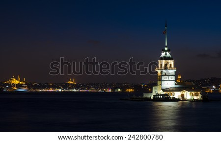 night view of the maiden's tower - stock photo
