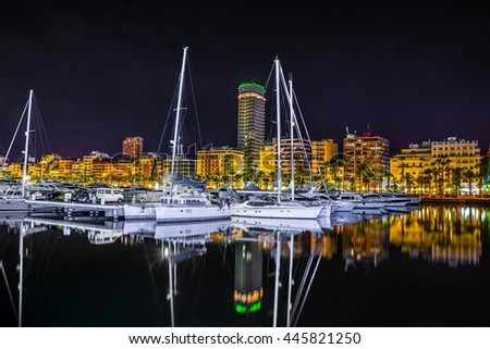Night view of the marina of alicante in spain.