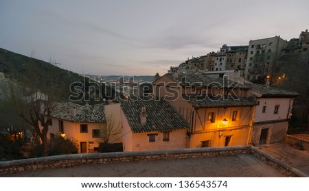 Night view of the medieval town of Cuenca, Spain