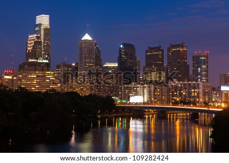 Night view of the Philadelphia skyline in pennsylvania