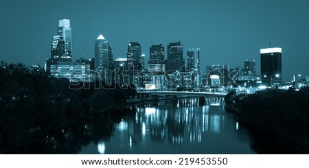 Night view of the Philadelphia skyline in pennsylvania - stock photo