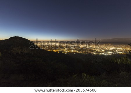 Night view of the San Fernando Valley in the City of Los Angeles. - stock photo