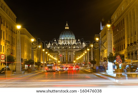 Night view of the St  Peter s Basilica in Rome, Vatican  Italy - stock photo