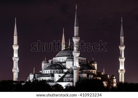 Night view of the Sultan Ahmed Mosque (aka Blue Mosque) in the old town of Istanbul (Turkey) - stock photo